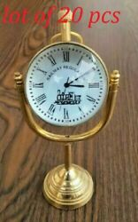 Table Top Clock Desk Brass Clock Collectible Table Top Clock Office Decorate