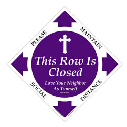 6ft Distance Marker For Church Pew Or Row - Pew Closed - This Row Is Closed
