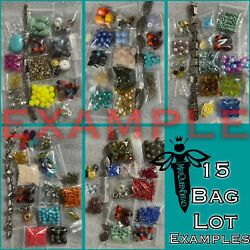 ✨BEADS✨15 Small Bags 🖤 Bead Lot Loose Mixed Glass Acrylic Metal 💋 Read $9.99