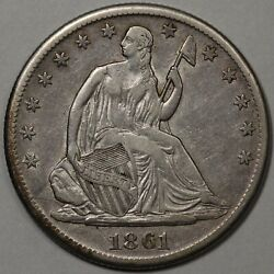 1861-s Seated Liberty Half Dollar Xf - Popular Civil War Date - Lightly Cleaned.