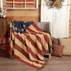 Primitive Country Farmhouse Patriotic Betsy Ross Old Glory Throw Flag Blanket