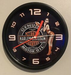 Harley-davidson Vintage Oil Label With Girl Design 9andrdquo Wall Clock. New