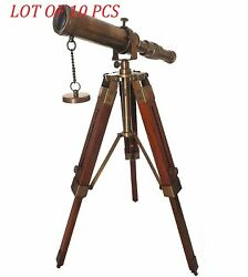 Antique Maritime Brass 9 Inch Telescope Table Top Wooden Tripod Collectible Item