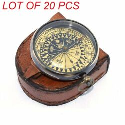 Antique Vintage Brass 2 Compass Nautical Maritime Locket Compass And Leather Case