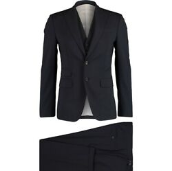 Andpound1880 Dsquared2 Andlsquolondonandrsquo Navy Blue Wool 3-piece Tuxedo Suit - Made In Italy