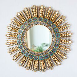 Gold Decorative Sun Mirror 23.6quot; from Peru AccentTurquoise Round Mirrors wall