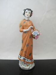 Very Fine Hand Painted Chinese Asian Porcelain Female W/ Flower Basket Figurine