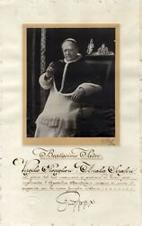 Pope Pius Xi. Authentic Autograph, Apostolic Blessing With An Oversized Photo Si