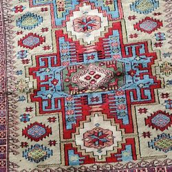 5' X 7' Semi-antique Original Hand Knotted Caucasian Style - Sold As Is..