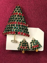 Vintage Green And Red Rhinestone Christmas Tree Brooch And Matching Earrings