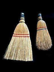Vintage/estate Lot Of 2 Whisk Brooms 9.5 And 11.75 Red And Blue Wrapped