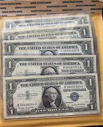 Lot Of 5 1957 A 1 Silver Certificates Nice Circulated Notes Blue Seal Old Money