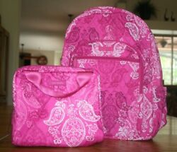 Vera Bradley Campus Backpack And Lunch Cooler Stamped Paisley Pink Bunch Set New