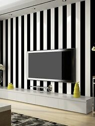 2-black/white Striped Wallpaper Wall Accent Self Adhesive Contact Paper Sale