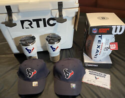 Nfl Houston Texans Rtic 20 Set Cooler, 2 Caps, 2 Cups, Signed Football All New