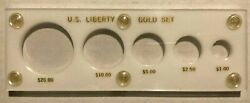 White Holder For Us Liberty Gold Set 20 10 5 2.50 And 1 United States Coin Case