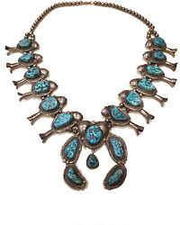Heavy 259 Gram Signed Vintage Navajo Turquoise Silver Squash Blossom Necklace