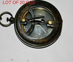 Antique Vintage Marine Brass Locket Style Sundial Compass With Chain Collectible