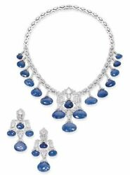 Lab Created Sapphire Fringe Necklace And Earrings Art Deco Style Sterling Silver