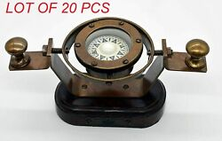 Antique Marine Nautical Brass Gimballed Ship Bridge Compass With Wooden Base