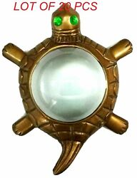 Brass Magnifier Map Reading Tortoise Paperweight Magnifying Glass Table Top Item