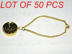 1 Antique Vintage Marine Brass Compass Maritime Locket Style Compass With Chain