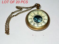 Antique Vintage Maritime Brass Pocket Watch With Chain Collectible Titanic Watch
