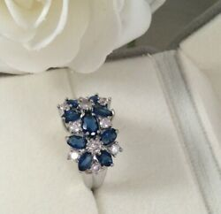 Vintage Jewellery White Gold Ring Blue White Sapphires Antique Deco Jewelry Sz M