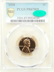 1938 1c Pcgs Pr-67 Red Cac Lincoln Wheat Proof Cent.gorgeous Superb Gem