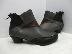 Aetrex Black Gray Burgundy Leather Zip Ankle Boots Womens Size 7 W