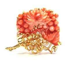 Hand Carved Coral 14k Yellow Gold And Diamonds Floral Design Brooch