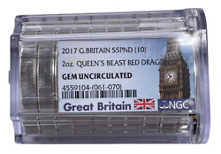 2017 Great Britain 2 Ounce Silver Queens Beast Red Dragon Ngc Gem Bu Roll 10