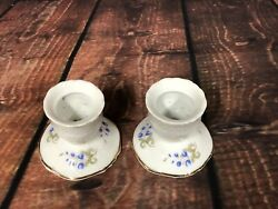 Hollohaza Hungary Porcelain Blue Floral With Gold Trim Matching Candlesticks