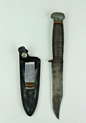 Vintage Usn Navy Pal Rh 35 Bowie Hunting Fishing Knife Leather Scabbard Sheath