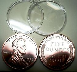 New Gift 5oz 2 1/2 999 Fn Copper Bullion Rd1909 Lincoln Penny W/at Hldr