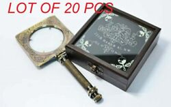 Antique Magnifying Glass Sherlock Holmes Magnifier With Black Wooden Box Gift