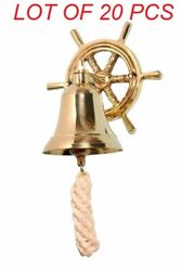 Brass Vintage Style Ship Wheel School Bar Wall Hanging Home Decor Bell With Rope