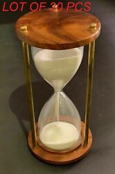 Antique Collectibles Hourglass Solid Brass And Wood Vintage Style Sand Timer Decor