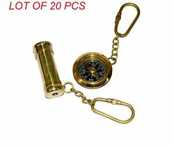Antique Vintage Brass 2 Kaleidoscope And 1.5 Compass Key Ring Collectible Gift