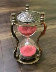 7 Brass Engraved Sand Timer Home/office Table Top Hour Glass Collectible Decor