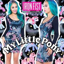 Iron Fist Rare My Little Pony Celestial Sequin Bodycon Dress Xs Or Small