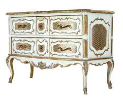 20th Century Reproduction Rococo 6 Drawer Commode
