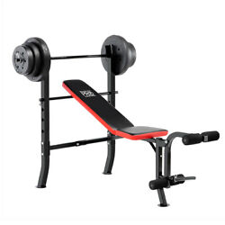 100 Lb Weight Set W/ Standard Adjustable Bench Flat Incline Pm-2084 - Marcy Pro