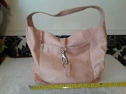 Dooney amp; Bourke Large Leather Ostrich Embossed Hobo in LIGHT PINK $65.00