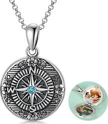 Sterling Silver Compass Photo Locket Necklace Enjoy The Journey Oxidized Design