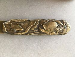 Antique Brass Japanese Frog Letter Opener 19th Century Page Turner