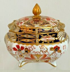 Rare Royal Crown Derby 2415 Traditional Imari Covered Square Box- Date Code 1916