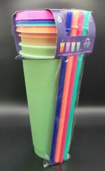 Tal Color Changing Reusable Tumblers And Straws Set 4 Pack Cold Cups And Lids 24oz