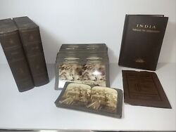 Rare Underwood And Underwood Stereoview India Boxed Set Of 100 W/ Book And Maps