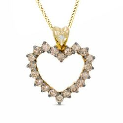 1 Ct Champagne And White Natural Diamond Heart Pendant 10k Gold Valentine Gifts